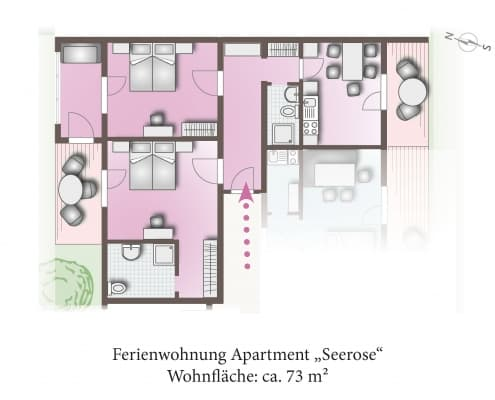 Grundriss des Apartments Seerose. Mit 73m² die größte Wohnung in unserem Haus