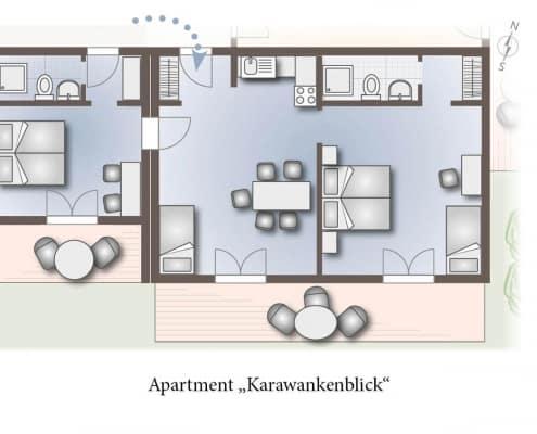 Grundriss vom Apartment Karawankenblick