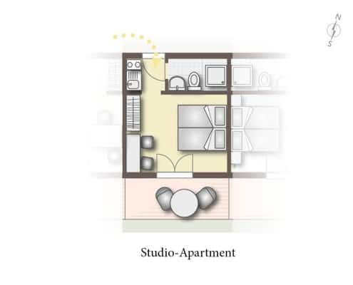 Grundriss vom Studio Apartment